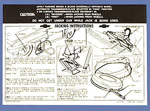1963-1966 Corvette Jacking Instructions Knock-off Wheels Decal