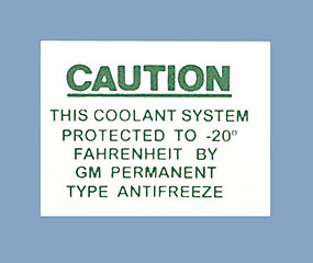 Cooling System Caution Decal (Code 3718263)