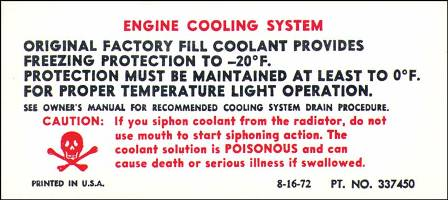 1973 Corvette Cooling System Decal On Shroud (code 337450)