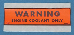 1974-1977 Corvette Engine Cooling System Decal (code 334117)