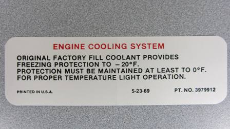 1970-1971 Corvette Cooling System Warning Decal (code 3979912)