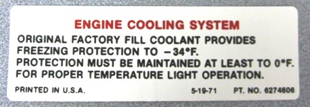 1972 Corvette Cool System Warning Decal (code 6274606)