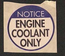 1978-1982 Corvette Engine Coolant Only Decal (code 44265327)