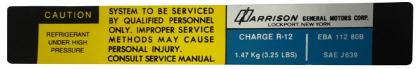 1982 Corvette Evaporator Box Harrison Decal (code Eba-1708-081b)