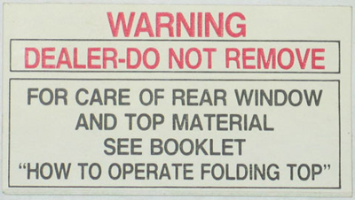 Rear Window Warning Tag