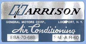 1968 Corvette Harrison AC Decal (code Eba 70-68b)