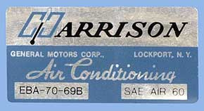 1969 Corvette Harrison AC Decal (code Eba 70-69b)
