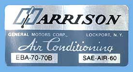 1970 Corvette Harrison AC Decal (code Eba 70-70b)