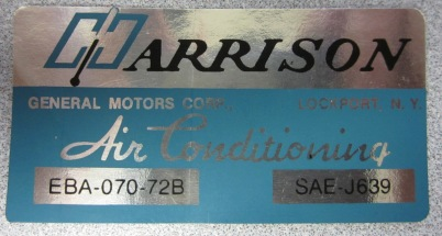 1972 Corvette Harrison AC Decal (code Eba 070-72b)