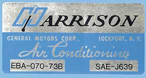 1973 Corvette Harrison AC Decal (code Eba 070-73b)