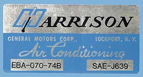 1974 Corvette Harrison AC Decal (code Eba 070-74b)