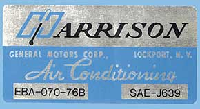 1976 Corvette Harrison AC Decal (code Eba 070-76b)