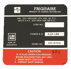 1968 Corvette Frigidaire AC Compressor Decal (code 5910725)