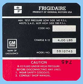1969 Corvette Red Frigidaire AC Compressor Decal (code 5910745)