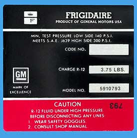 1972 Corvette Red Frigidaire AC Compressor Decal (code 5910793)