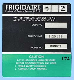 1972-1973 Corvette Green Frigidaire AC Compressor Decal
