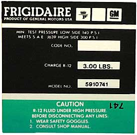 1974-1976 Corvette Green Frigidaire AC Compressor Decal (code 5910741)