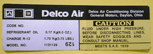 1977-1978 Corvette AC Delco Compressor Decal (code 1131129)