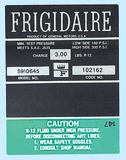 1968 Corvette Green Frigidaire AC Compressor Decal (code 5910645)