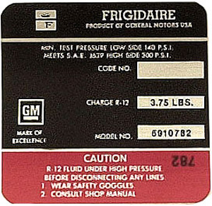 1971 Corvette Red Frigidaire AC Compressor Decal (code 5910782)
