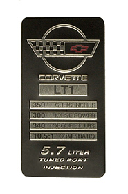 Console Specification Plate LT1 Small Block (300 HP,340 TQ)