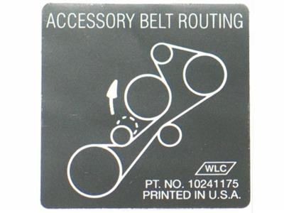 1993-1995 Corvette Belt Routing Lt-1 Decal