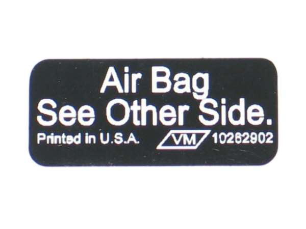 1990-1996 Corvette Sunvisor Air Bag Warning Decal On Mirror