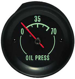 Oil Gauge with Green Letters
