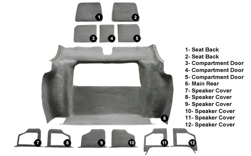 1978-1979 Corvette Rear Carpet Set Cutpile  (3 Door Rear Compartment)