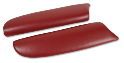 Leather Armrest Pads - (Red) (Pair)